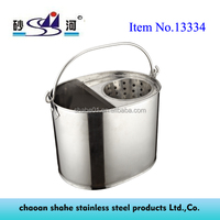 Seamless Mop Bucket with Wringer Stainless Steel Metal Material