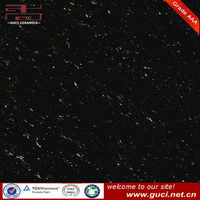 Black sparkle polished porcelain tile