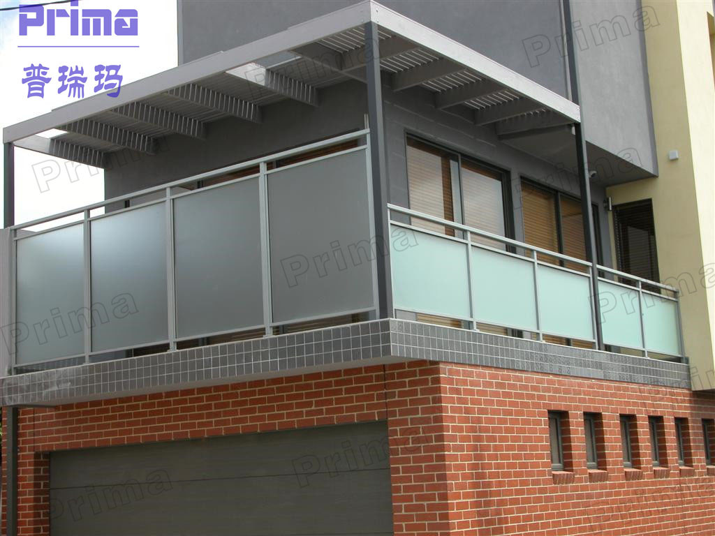 Railings glass balconies frost glass railing balcony for Glass balcony railing