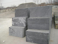 Natural black slate floor paver with back calibrated