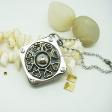 Black color Heart to heart connection with square pendant