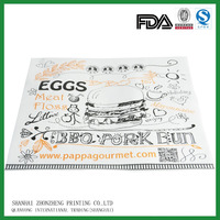 printed custom food hamburger grease proof paper manufacturers