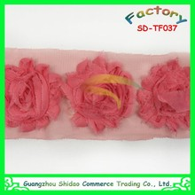 Pink flower design lace shabby flowers chiffon trim wholesale rose flower design lace trim