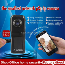 2015 high quality wireless portable full HD support sd card mini p2p ip camera
