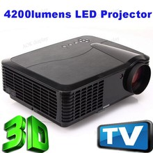 4200 Lumens 1080p LED 3D Home Theater Office Projector 50000 Hours For Lamp 1280*800 HDMI VGA USB UC SD For Laptop TV Phone Blac