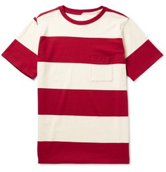 mens rayon fabric red and white striped pocket tee