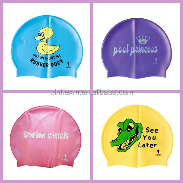 Customized logo printing Slicone waterproof swim caps