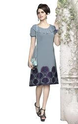 Triveni Fashionable Grey Colored Embroidered Faux Georgette Kurti 1018