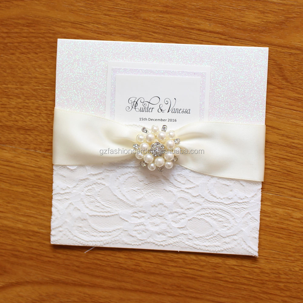 White Glitter Ribbon Beads Brooch Wedding Invitations With Lace ...
