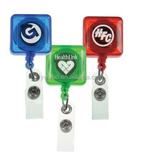 Supply Youch 2015 OEM LOGO Plastic Square Badge Reel with Belt Clip---Yiwu Supplier