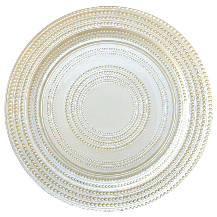 wholesale gold silver glass beaded charger plate wedding table