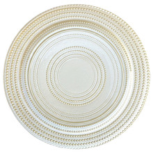Wholesale Gold Silver Glass Beaded Charger Plate Wedding Table Decoration