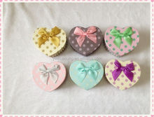 round dot print and heart shape paper box