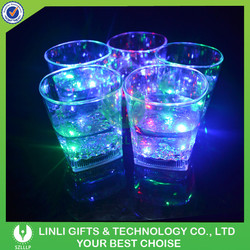 Hot Sale 10OZ Square Shaped Cheap LED Light Up Whiskey Glass For Gifts