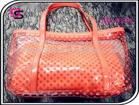 Clear pvc tote bag with bright trim,handbag,women handbag
