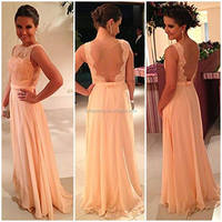 New Backless Wedding Party Dress Chiffon Pretty Nude Back Lace Peach Long Evening Bridesmaid Dresses