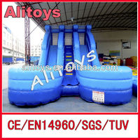 double line blue sea infllatable wet water slide