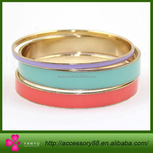 White Epoxy,Green Epoxy & Red Epoxy plating gold 3 Piece Stackable Bracelet Set