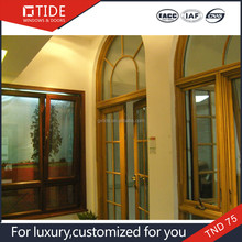 Popular style hurricane aluminum window with grill design,aluminum and wood grills window