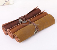 DHL Freeshipping Min 50pcs/lot Vintage pirate map leather roll pencil case pen curtain cosmetic bag pencil bags