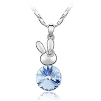 cute pendant jewelry swarovski element crystal baby rabbit lucky necklace