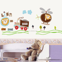 ZooYoo 3d Removable pvc cartoon animal wall sticker kids lion truck wall sticker decal for kids room decor (ZYPB7011)