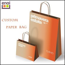 Orange color luxury brand paper kraft bag for gift /shopping package