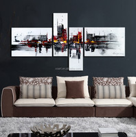 modern abstract oil painting black white
