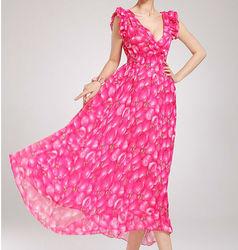 D90178L ROMANTIC WOMEN LONG PINK DRESS