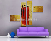 4 piece modern decoration art set Abstract Three ladies in red hand painted Oil figure Painting on Canvas