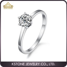 KSTONE 2015 Wholesale stainless steel silver cz diamond engagement ring, high quality women wedding rings