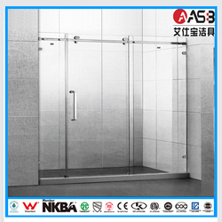 large size stainless steel 8mm Tempered Glass 3 piece bath screen