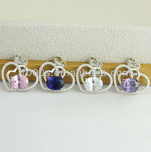 heart to heart gemstone pendant , Rhodium plated pendant charm