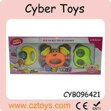 2015 funny 3 pcs colorful different shapes baby handheld bell toy for baby for sale
