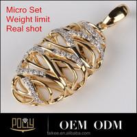 2015 new design fashion jewelry 18K rose gold diamond leaf pendants micro set
