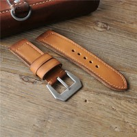 24mm brown color handmade genuin leather cuff watch band for man
