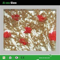 For Interior Decoration With CCC/CE/ISO Certification Nature Decoration Dry Grasses /Plant Laminated Wired Glass