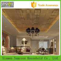 European construction material home decor embossed fireproof ceiling tiles decoration pictures