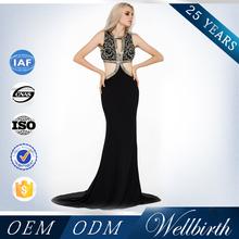 Appliques Black Trumpet Halter Hot Sale Evening Dresses For Veiled