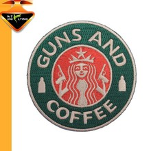 Guns and coffee iron on embroidered patches