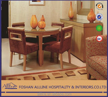Dubai-Times AL-db0205 oak solid wood hotel furniture elegant modern dining room set/round dining table/4 chairs