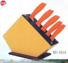 HX-1014 6pc stainless steel kitchen knife sets with adorable wood knife holder