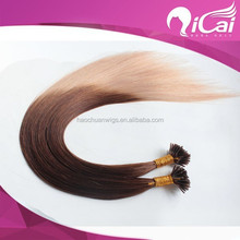cheap 7A Ombre Color 100% Indian Virgin Hair Stick/I Tip Hair Extensions Support Wholesale Best Quality