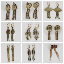 2015 Latest Attractive Raw Brass Mesh Colorful Rhinestone Fantasy Ladies Earrings Designs Pictures
