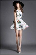 Women lady girl Casual Dresses Really makg summer new women elegance big round neck sleeveless dress 8081