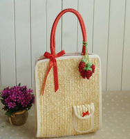 Wholesale 2015 New Style Wheat Grass Little Pepper Shoulder bag Lady bag Pastoral Fresh Straw bag