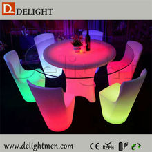 Outdoor furniture hot sale waterproof illuminated RGB remote control model dining table