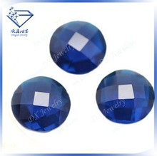 Single faceted machine cut round glass stone blue, loose stones alibaba beads