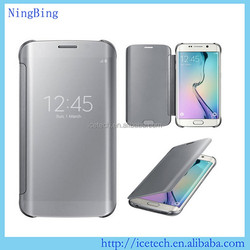 2015 Stand Flip PU Leather Cover Smart Mirror Case For Samsung Galaxy S6 Edge
