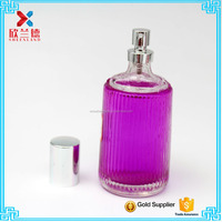 factory price 100ml stripe embossed cylinder round refillable glass perfume bottle wit crimp spray
